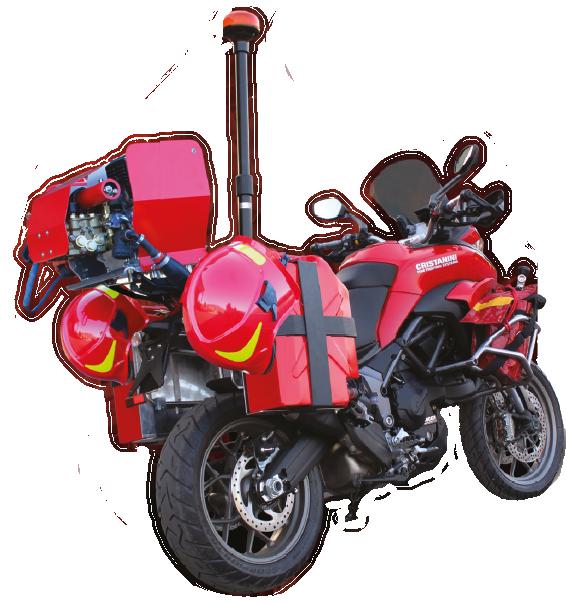Equipo de extinción Mini Fire Stop montado sobre motocicleta Ducati.